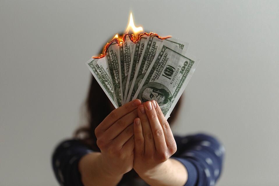 wife burning money